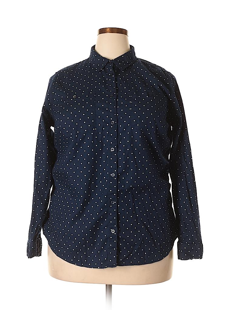 089b983f959 St. John s Bay 100% Cotton Polka Dots Dark Blue Long Sleeve Button ...