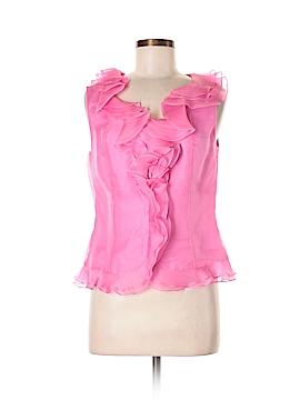Teri Jon by Rickie Freeman Short Sleeve Silk Top Size 8