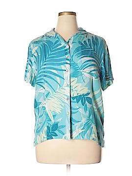 Caribbean Joe Short Sleeve Silk Top Size XL