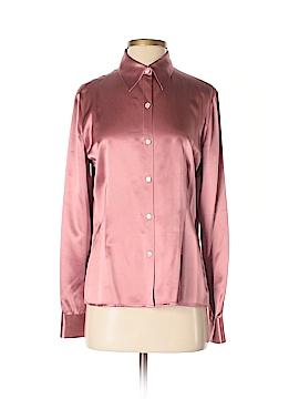 Caslon Long Sleeve Silk Top Size M