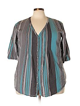 Roaman's 3/4 Sleeve Button-Down Shirt Size 22W (Plus)