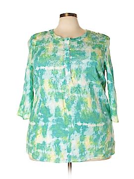 Carole Little 3/4 Sleeve Button-Down Shirt Size 2X (Plus)