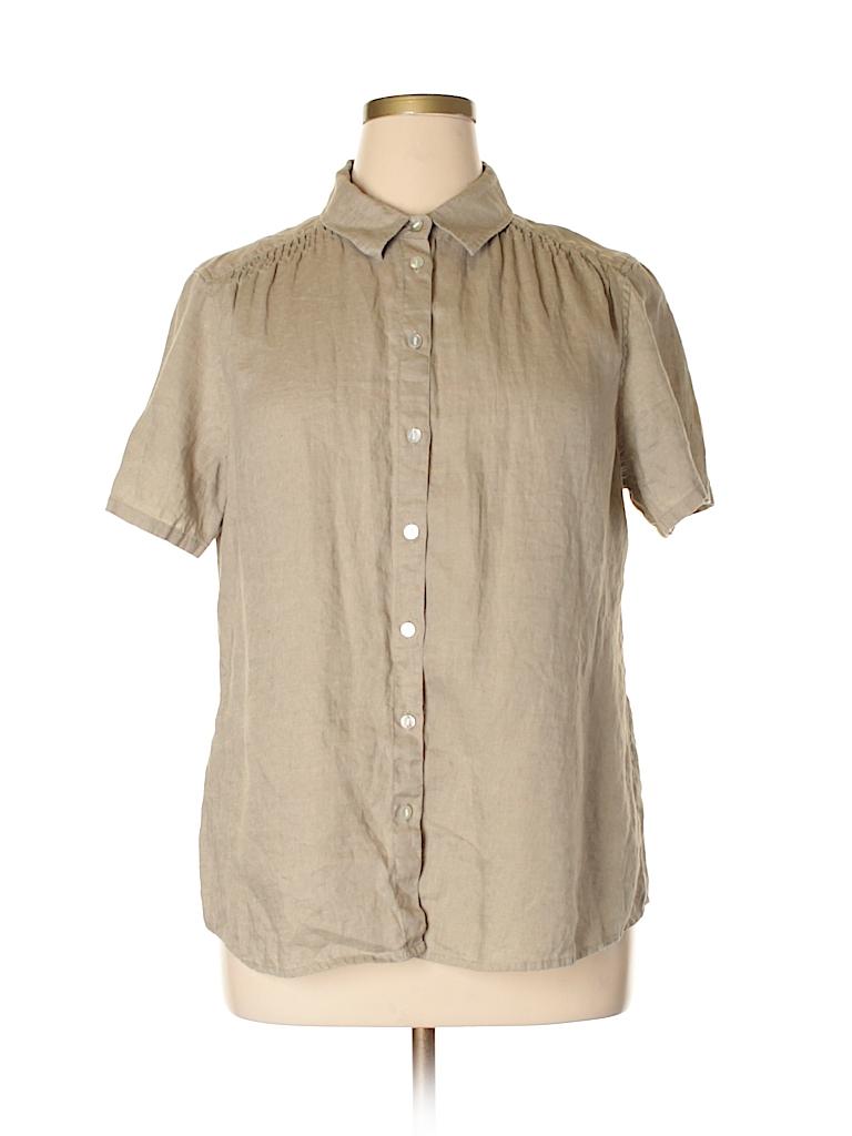 6c57c78631 J.jill 100% Linen Solid Dark Green Short Sleeve Button-Down Shirt ...