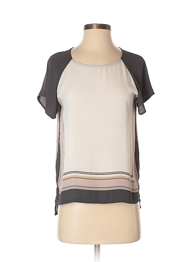 7cae2fc457ab0 Ann Taylor LOFT 100% Silk Polka Dots Stripes Color Block Gray Short ...