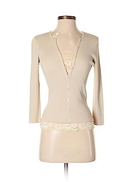 August Silk 3/4 Sleeve Button-Down Shirt Size S