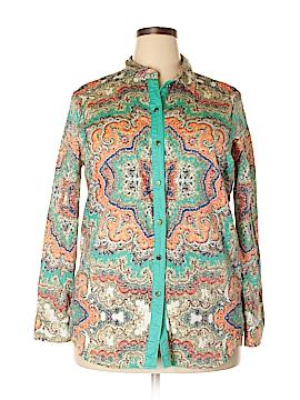 Jaclyn Smith Long Sleeve Button-Down Shirt Size XL