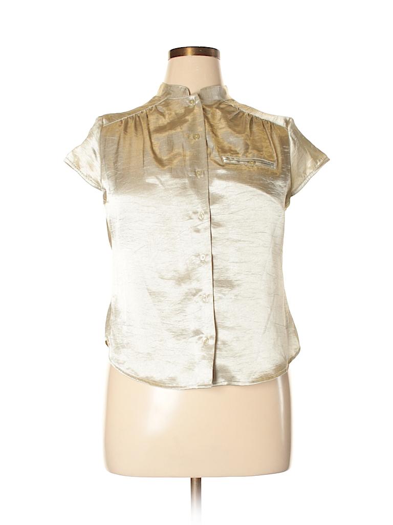 49fd42d77b81d8 Jaclyn Smith 100% Polyester Metallic Tan Short Sleeve Blouse Size XL ...