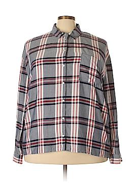 Como Black Long Sleeve Button-Down Shirt Size 3X (Plus)