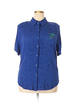 C.M. Shapes Short Sleeve Button-Down Shirt Size 1X (Plus)