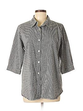 Denim Co 3/4 Sleeve Button-Down Shirt Size M