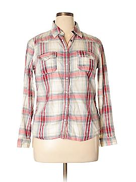 Indigo Collection Long Sleeve Button-Down Shirt Size 14