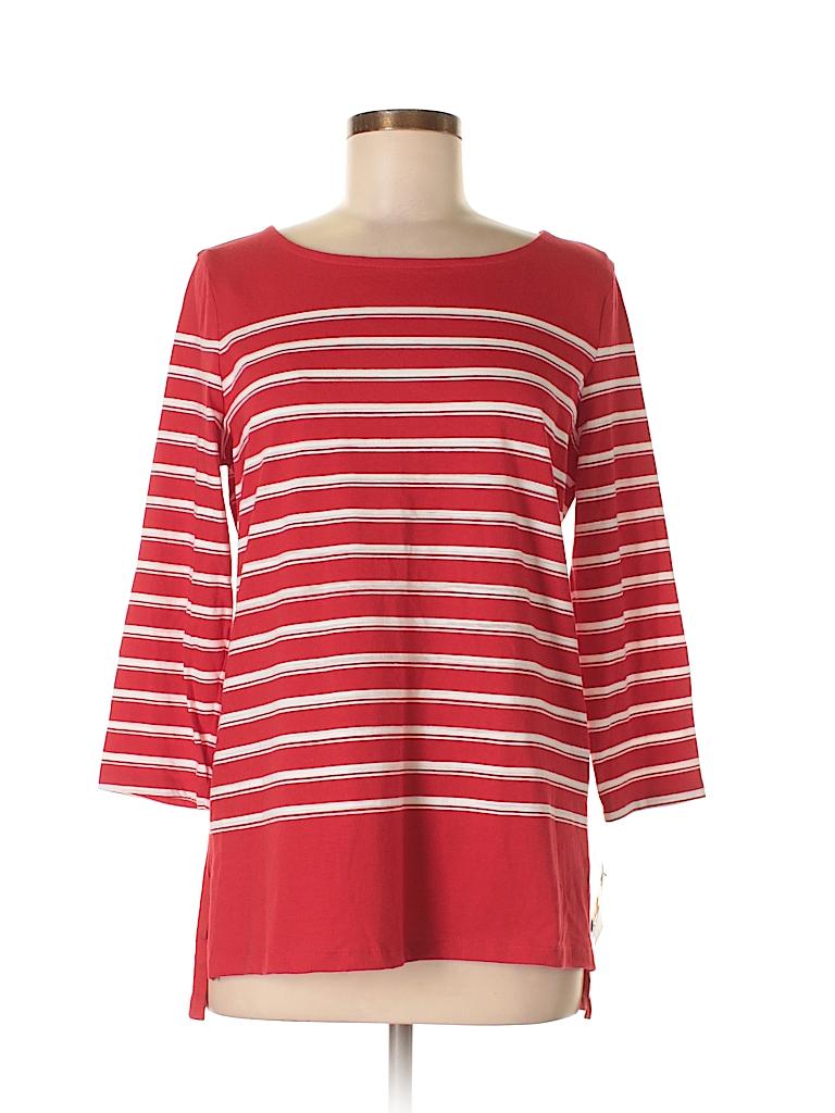 2af9a50af9ec5 Liz Claiborne Stripes Red 3 4 Sleeve T-Shirt Size M - 64% off