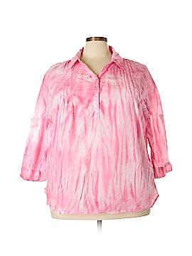 Caribbean Joe Long Sleeve Button-Down Shirt Size 3X (Plus)