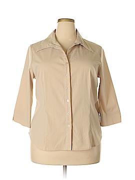 Fred David 3/4 Sleeve Button-Down Shirt Size 1X (Plus)
