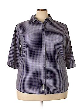 Northcrest 3/4 Sleeve Button-Down Shirt Size 3X (Plus)
