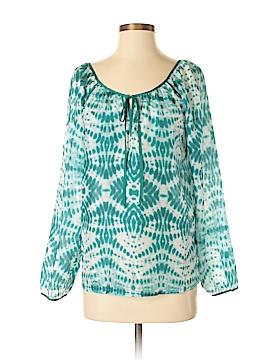 Velvet Long Sleeve Silk Top Size S