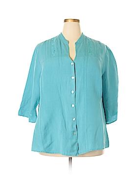 Emma James 3/4 Sleeve Button-Down Shirt Size 24W (Plus)
