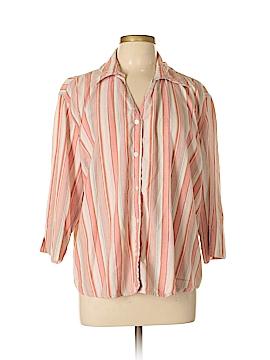 Fashion Bug 3/4 Sleeve Button-Down Shirt Size L