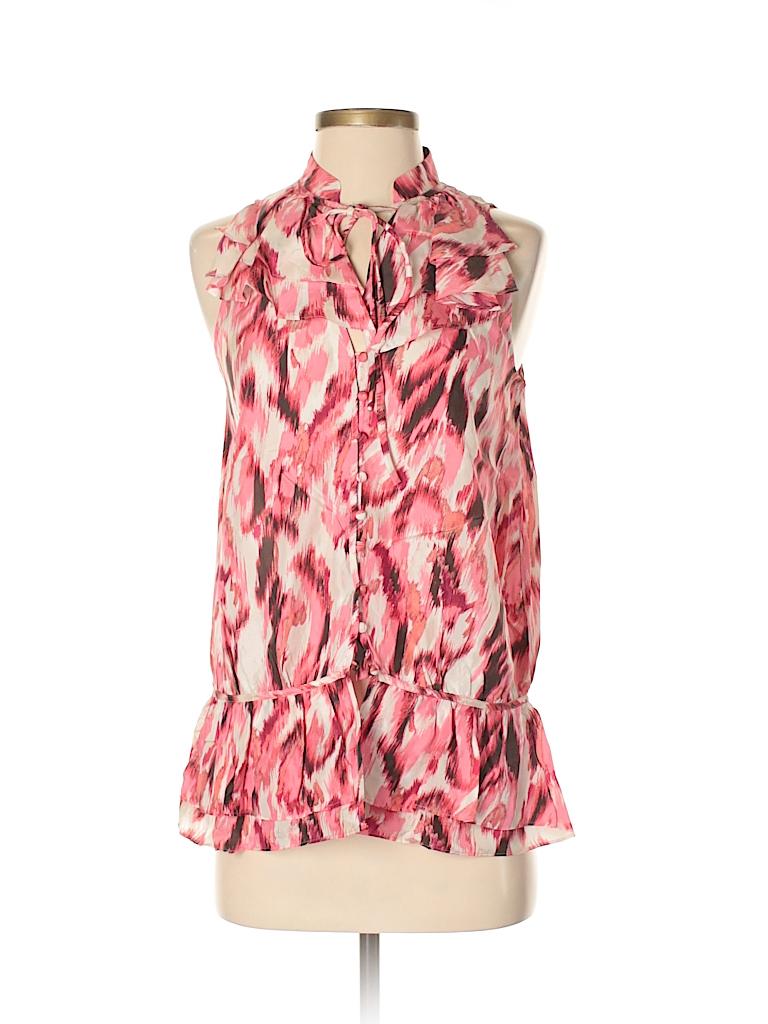 4265c018812da Ann Taylor LOFT 100% Silk Print Light Pink Sleeveless Silk Top Size ...