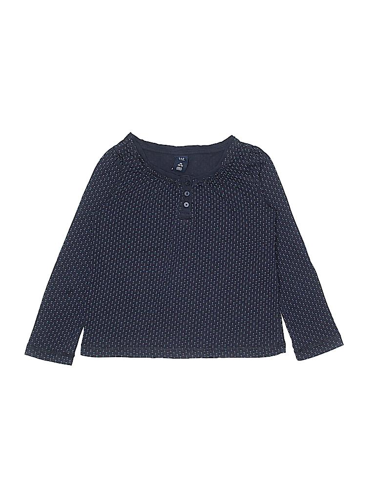ed5cac0eb644 Gap Kids 100% Cotton Print Navy Blue Long Sleeve Henley Size 4 - 5 ...