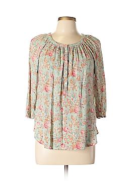 Chaps 3/4 Sleeve Button-Down Shirt Size L (Petite)