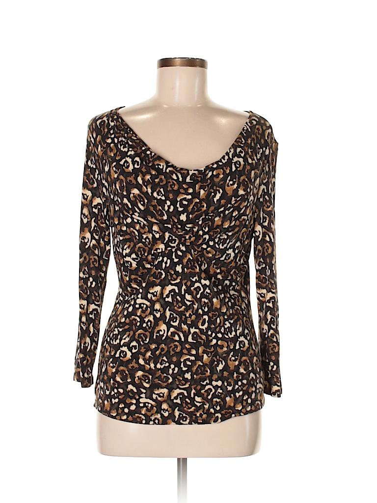 123e4fc65207 MICHAEL Michael Kors Animal Print Black 3 4 Sleeve T-Shirt Size M ...