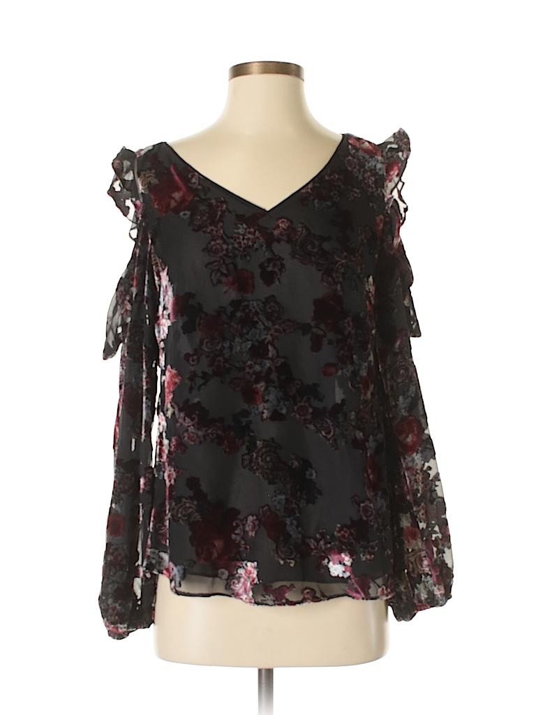979d6d6419 White House Black Market 100% Polyester Floral Black Long Sleeve ...
