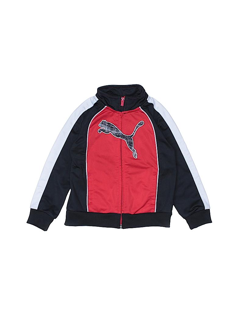 a5ea27e8cc70 Puma 100% Polyester Graphic Color Block Red Track Jacket Size 24 mo ...