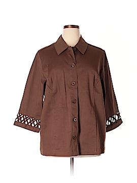D&Co. 3/4 Sleeve Button-Down Shirt Size 1X (Plus)