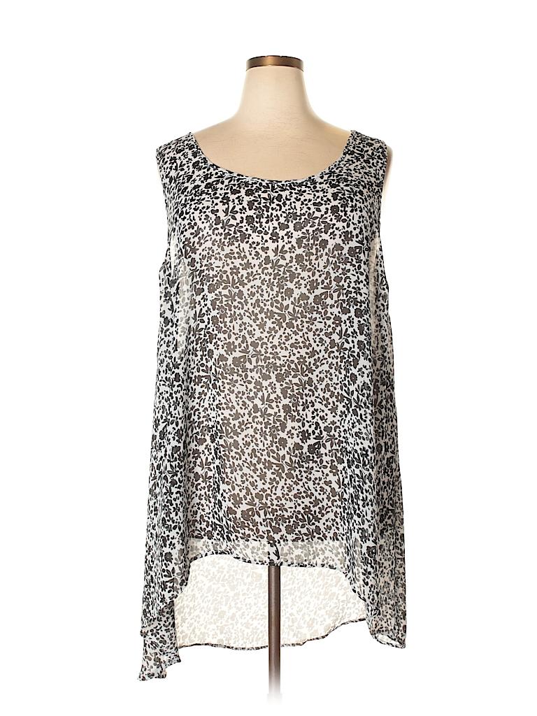 37b981f92e0 Torrid 100% Polyester Floral Black Sleeveless Blouse Size 4 (Plus ...