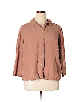 Harve Benard by Benard Haltzman 3/4 Sleeve Button-Down Shirt Size 22W (Plus)