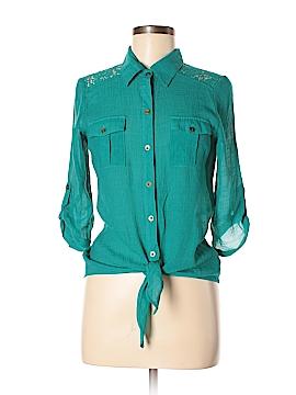BCX 3/4 Sleeve Button-Down Shirt Size M