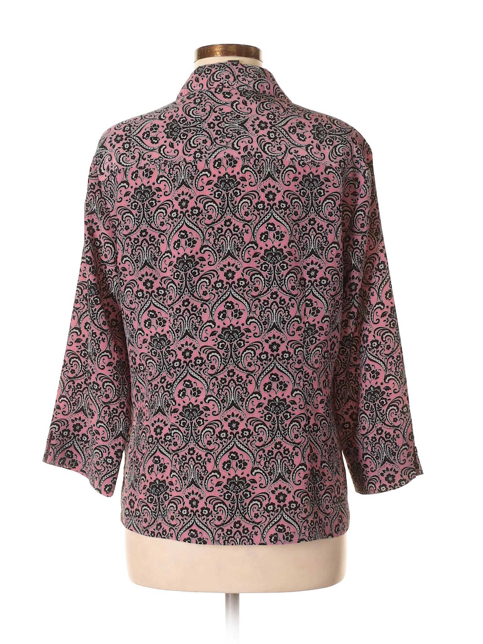 aefb06b7cc5069 DonnKenny Classics 100% Polyester Print Pink 3/4 Sleeve Blouse Size ...
