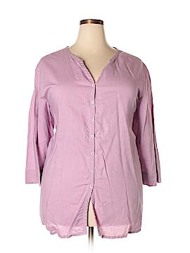 Silhouettes 3/4 Sleeve Button-Down Shirt Size 3X (Plus)
