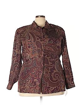 Elisabeth by Liz Claiborne Long Sleeve Silk Top Size 18 (Plus)