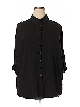 Design 365 3/4 Sleeve Button-Down Shirt Size 1X (Plus)