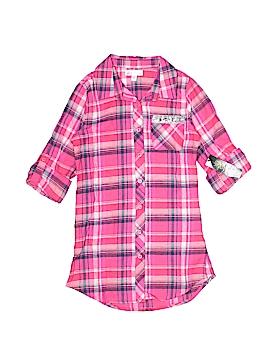 Green Soda 3/4 Sleeve Button-Down Shirt Size S (Kids)