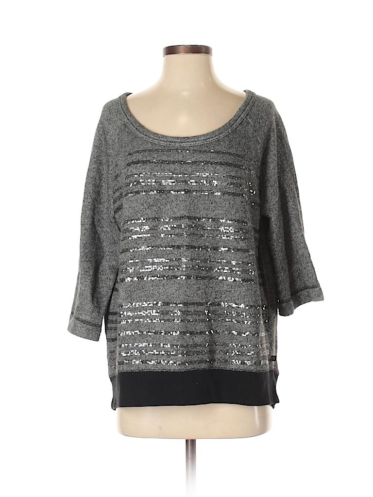 1e3fd2850c93 Victoria's Secret Stripes Color Block Gray Pullover Sweater Size S ...