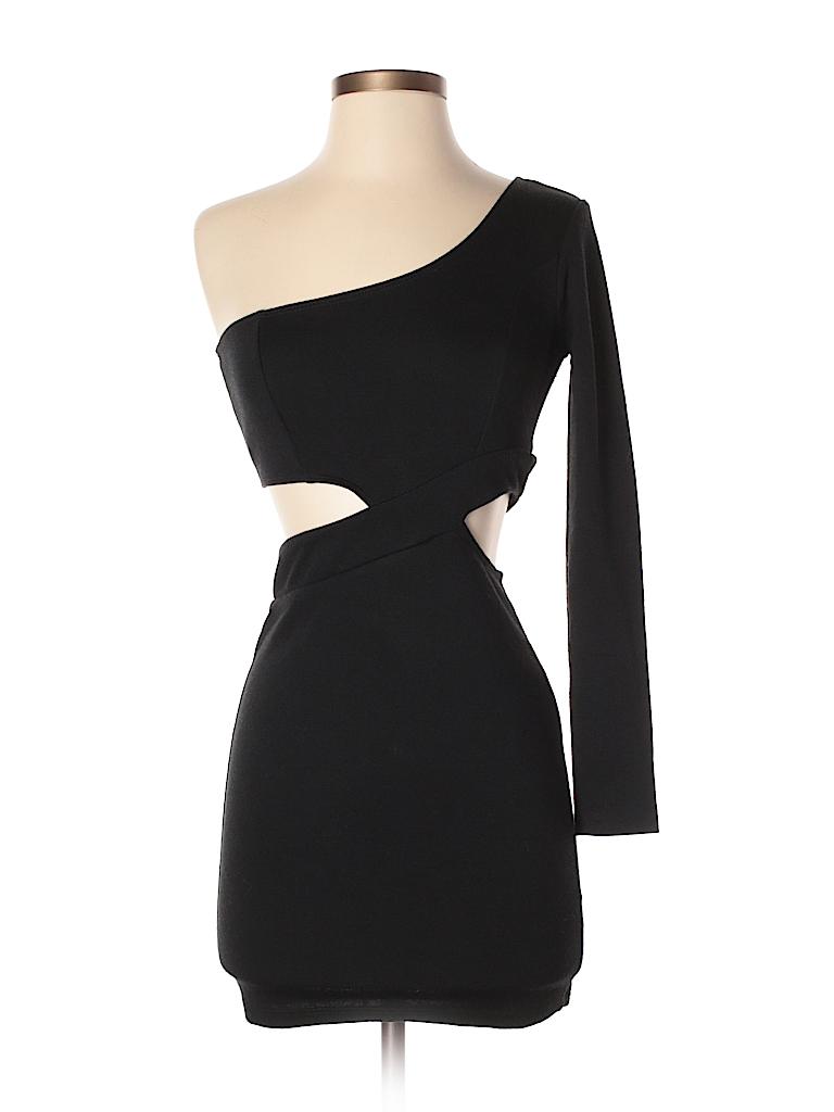 ASOS 100% Cotton Solid Black Cocktail Dress Size 4 (Petite) - 58 ...