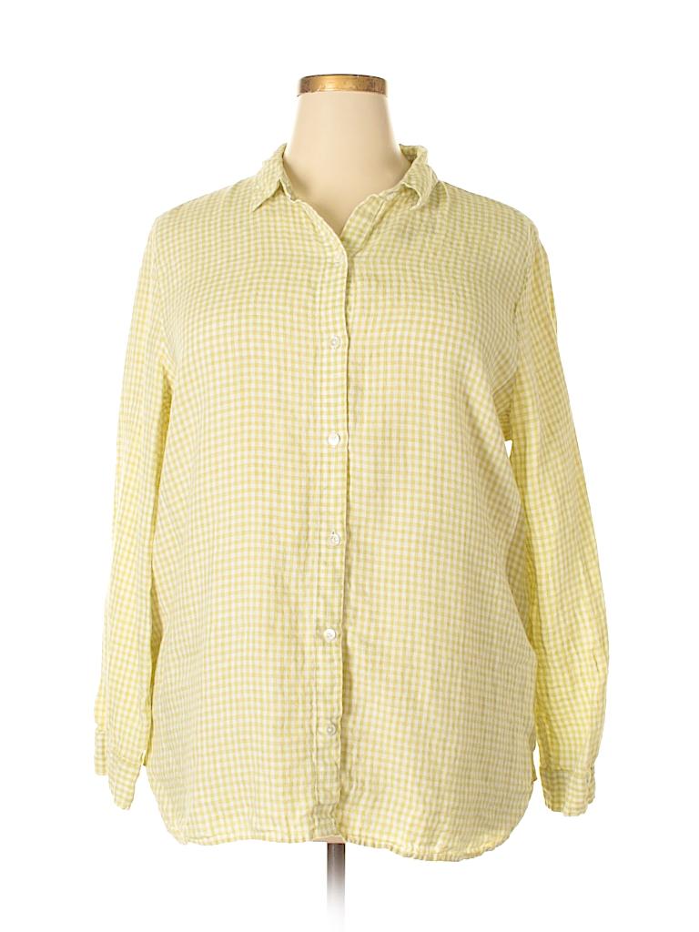 185124b3aa J.jill 100% Linen Checkered Gingham Light Green Long Sleeve Button ...