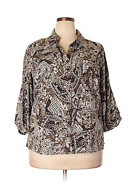 Erika 3/4 Sleeve Button-Down Shirt Size 1X (Plus)