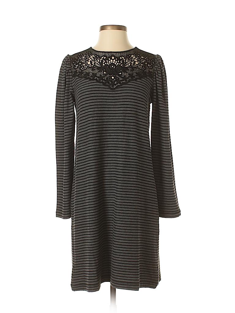 0986bed534f Ann Taylor LOFT 100% Cotton Crochet Stripes Black Casual Dress Size ...