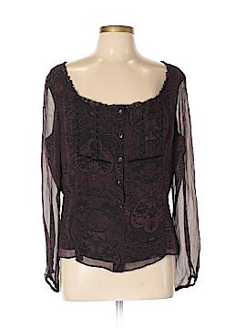 ECI Long Sleeve Silk Top Size L