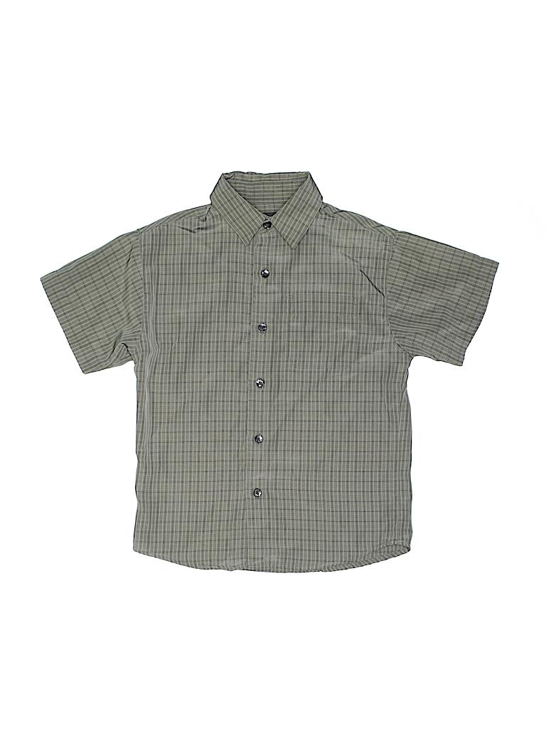 Van Heusen 100 Polyester Plaid Light Green Short Sleeve Button Down