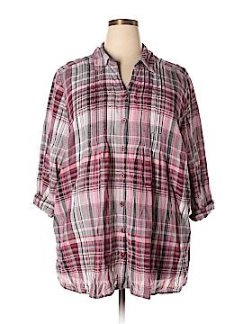 Cj Banks 3/4 Sleeve Button-Down Shirt Size 3X (Plus)