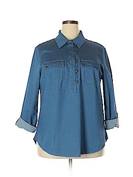 Modamix By Brandon Thomas 3/4 Sleeve Button-Down Shirt Size 18 (Plus)