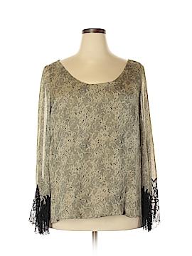 Carmen Marc Valvo Long Sleeve Silk Top Size 3X (Plus)