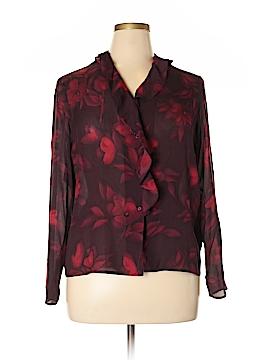 Jones New York Signature Long Sleeve Silk Top Size 14