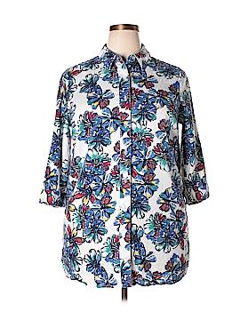 Jessica London 3/4 Sleeve Button-Down Shirt Size 14