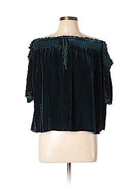 Hale Bob Short Sleeve Silk Top Size L